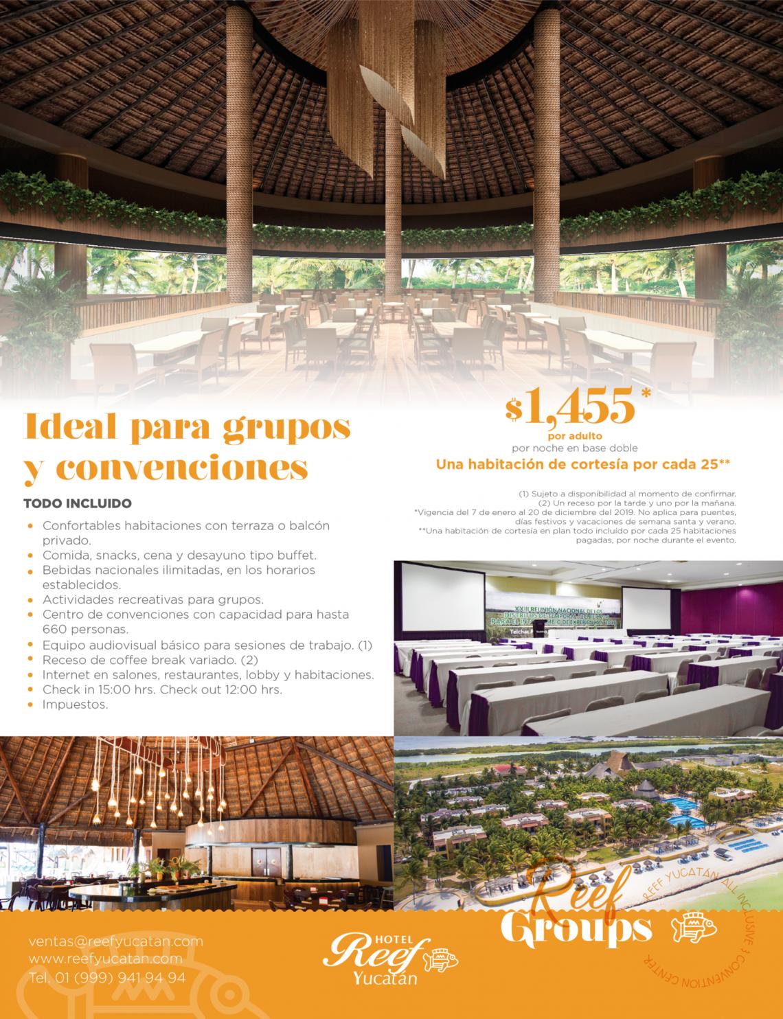 Costo de grupos Hotel Reef Yucatan