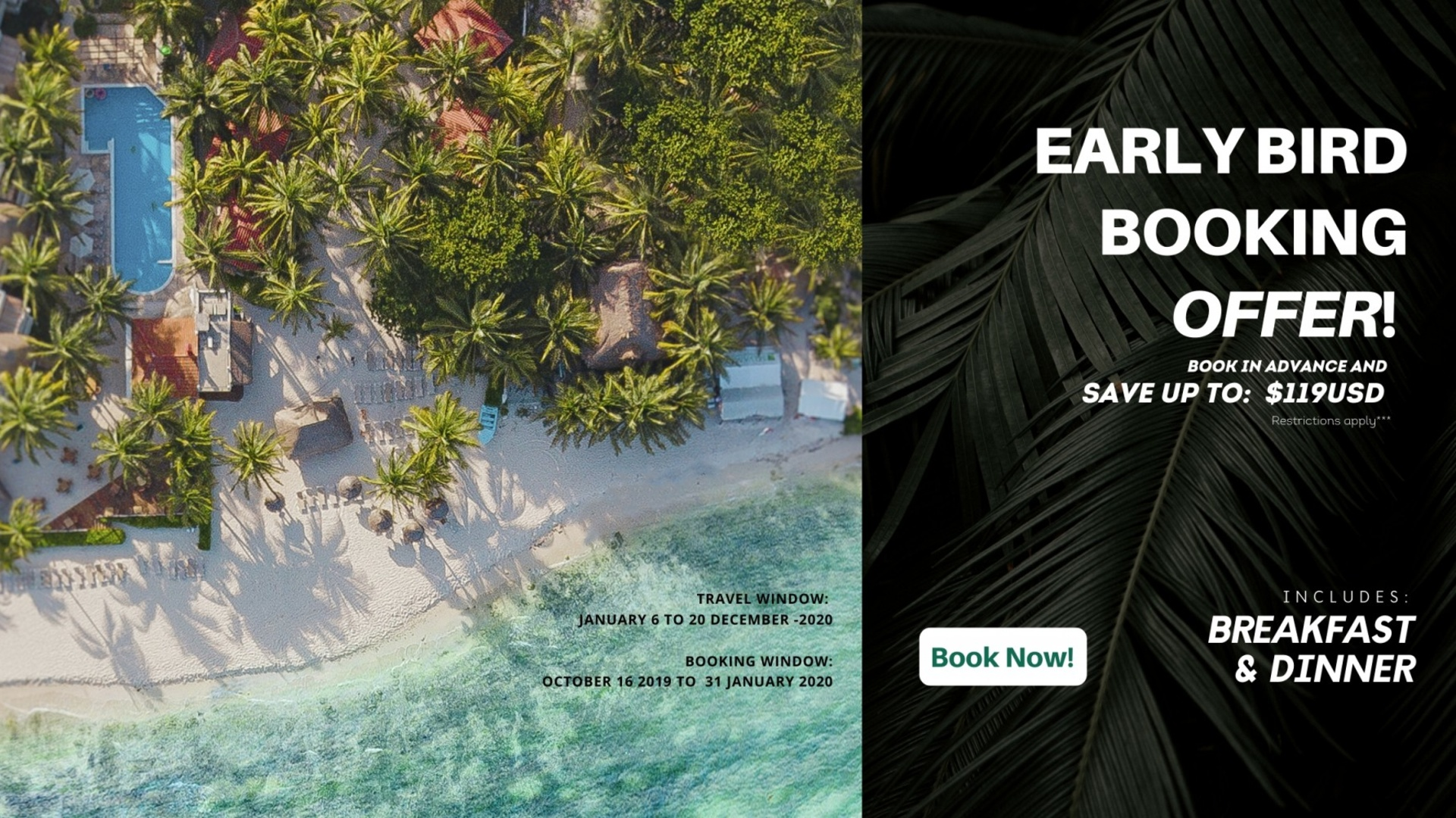 Early Bird booking, Get $100USD OFF